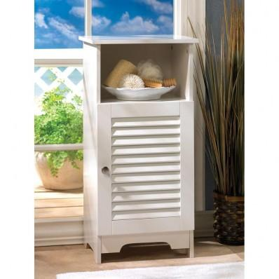 Nantucket White MDF Wood Tall Storage Cabinet 10014707 Free Shipping
