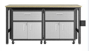Manhattan Comfort Fortress 3 Piece Set and Worktable 4.0