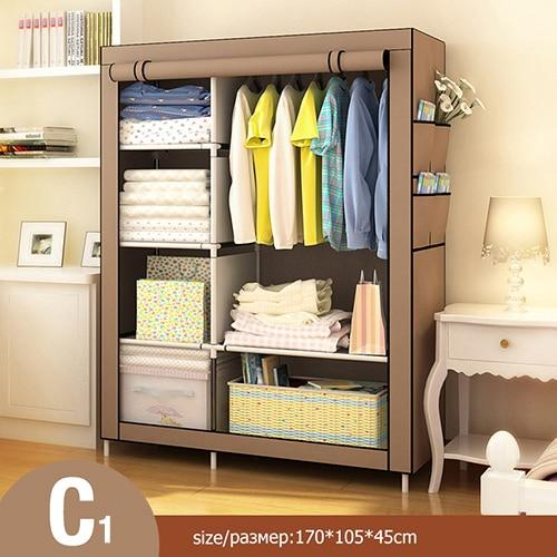 Modern Non-woven Cloth Wardrobe Folding Clothing Storage Cabinet Multi-purpose Dustproof Moistureproof Closet Bedroom Furniture