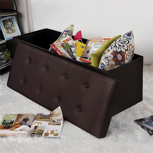Folding Ottoman Faux Leather Bench and Storage Unit