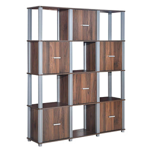 4-Tier Storage Shelf 1 Display Bookcase with 6 Doors-Warm White