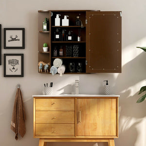 Multipurpose Mount Wall Surface Bathroom Storage Cabinet with Mirror-Brown