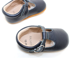 Lottie T-Bar Leather Shoes Navy