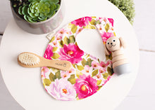 Load image into Gallery viewer, Luna Peony Rose Baby Bib