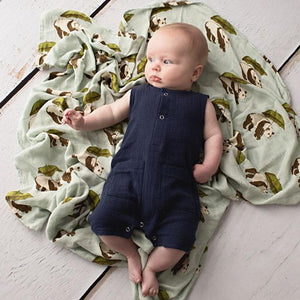 Charlie Cotton Romper Navy - Fauve + Co