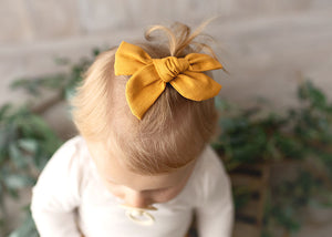 Ivy Linen Hair Bow Mustard - Fauve + Co