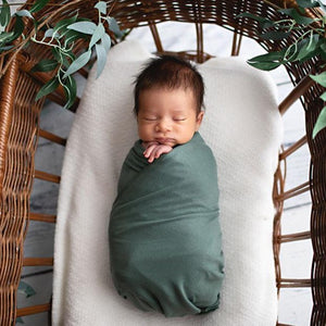 Evie Stretch Jersey Swaddle Sage - Fauve + Co