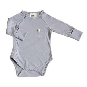 Our Joey Organic Long-sleeve Bodysuit Light Grey