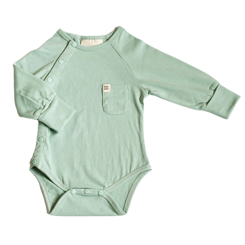 Our Joey Organic Long-sleeve Bodysuit Aqua Foam