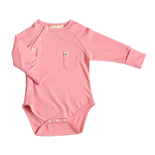 Our Joey Organic Long-sleeve Bodysuit Coral Blush