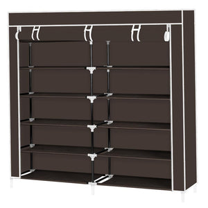 7 Tiers Portable Shoe Rack Closet Fabric Cover Shoe Storage Organizer Cabinet Dark Brown