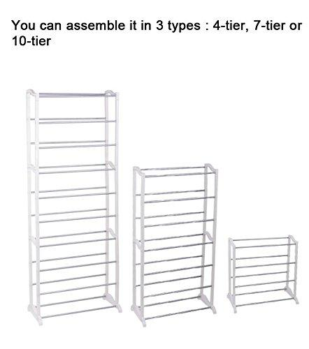 30 Pair 10 Tier Space Saving Storage Organizer Free Standing Shoe Tower Rack Shelf, White (US STOCK)