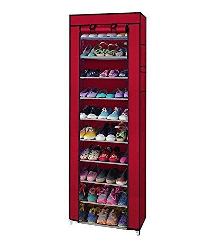 Pack of 5 Non-Woven Fabric Collapsible Portable Foldable Maxr 10 Layer Easy Installation Shoe Rack/Cabinet, Standard