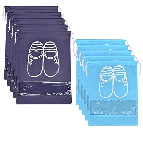 10 Pcs Travel Dust-Proof Shoe Bags With Drawstring And Transparent Window Shoe Organizer Space Saving Storage Bags(5Pcs Xl And 5Pcs L)