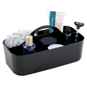 On amazon mdesign plastic portable storage organizer caddy tote divided basket bin with handle for bathroom dorm room holds hand soap body wash shampoo conditioner lotion large 4 pack black