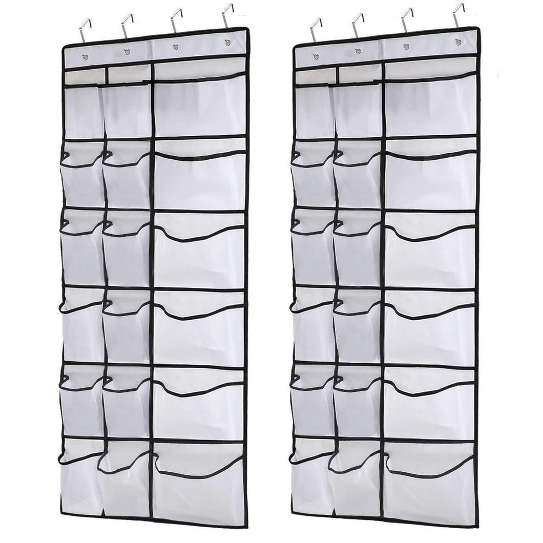 Kootek 2 Pack Over The Door Shoe Organizers, 12 Mesh Pockets + 6 Large Mesh Storage Various Compartments Hanging Shoe Organizer with 8 Hooks Shoes Holder for Closet Bedroom, White (59 x 21.6 inch)