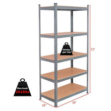 Load image into Gallery viewer, Shop here tangkula 72 storage shelves heavy duty steel frame 5 tier garage shelf metal multi use storage shelving unit for home office dormitory garage