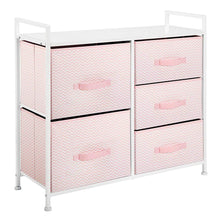 Load image into Gallery viewer, Best seller  mdesign wide dresser storage tower furniture metal frame wood top easy pull fabric bins organizer for kids bedroom hallway entryway closets dorm chevron print 5 drawers pink white