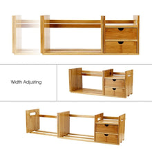 Load image into Gallery viewer, Products cocoarm bamboo wood desk organizer expendable tabletop bookshelf office storage adjustable table accessory book shelf media rack with 2 drawers cd holder display for home dorm kitchen plants