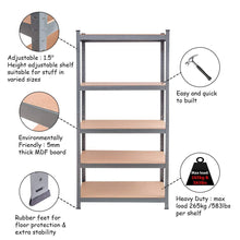 Load image into Gallery viewer, Storage tangkula 5 tier storage shelves space saving storage rack heavy duty steel frame organizer high weight capacity multi use shelving unit for home office dormitory garage with adjustable shelves 4 pcs