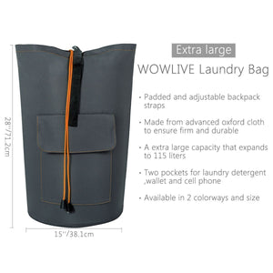 Buy wowlive extra large laundry bag laundry backpack hanging laundry hamper adjustable shoulder straps camping bag waterproof durable travel collage apartment dorm sports dark grey