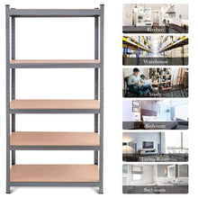 Load image into Gallery viewer, Storage organizer tangkula 5 tier storage shelves space saving storage rack heavy duty steel frame organizer high weight capacity multi use shelving unit for home office dormitory garage with adjustable shelves 4 pcs