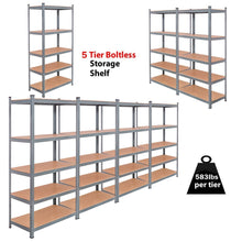 Load image into Gallery viewer, Shop tangkula 5 tier storage shelves space saving storage rack heavy duty steel frame organizer high weight capacity multi use shelving unit for home office dormitory garage with adjustable shelves 4 pcs