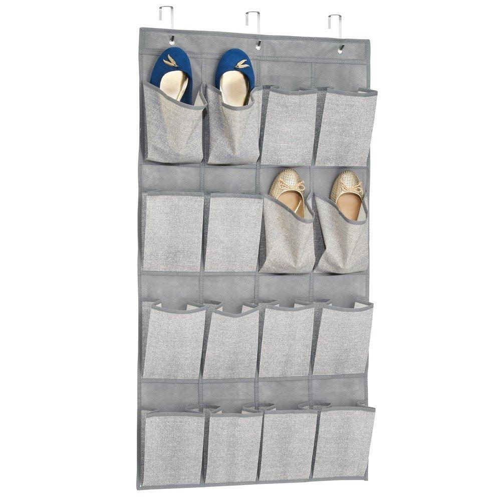Fabric Over The Door Organizer 16 Pockets Grey