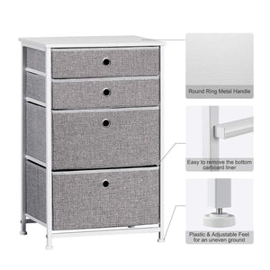 Featured langria faux linen home dresser storage tower with 4 easy pull drawers sturdy metal frame and wooden tabletop perfect organizer for guest room dorm room closet hallway office area gray