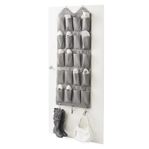 Over The Door 20 Pair Shoe Organizer with 3 NeatClips - Harmony Twill