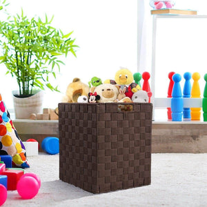 Shop here sorbus foldable storage cube woven basket bin set built in carry handles great for home organization nursery playroom closet dorm etc woven basket bin cubes 2 pack chocolate