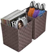 Load image into Gallery viewer, Shop sorbus foldable storage cube woven basket bin set built in carry handles great for home organization nursery playroom closet dorm etc woven basket bin cubes 2 pack chocolate