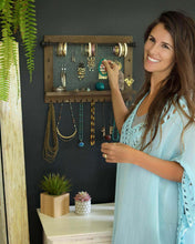 Load image into Gallery viewer, Order now wall necklace holder and jewelry organizer large rustic hanging display includes bracelet bar earrings grid 18 hooks and shelf perfect gift for bridal shower women girls or dorm room