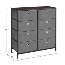 Load image into Gallery viewer, Order now songmics 4 tier wide drawer dresser storage unit with 8 easy pull fabric drawers and metal frame wooden tabletop for closets nursery dorm room hallway 31 5 x 11 8 x 32 1 inches gray ults24g