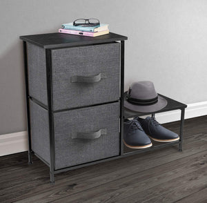 Select nice sorbus 2 drawer nightstand with shelf bedside furniture accent end table chest for home bedroom accessories office college dorm steel frame wood top easy pull fabric bins black