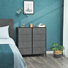 Load image into Gallery viewer, Related songmics 4 tier wide drawer dresser storage unit with 8 easy pull fabric drawers and metal frame wooden tabletop for closets nursery dorm room hallway 31 5 x 11 8 x 32 1 inches gray ults24g