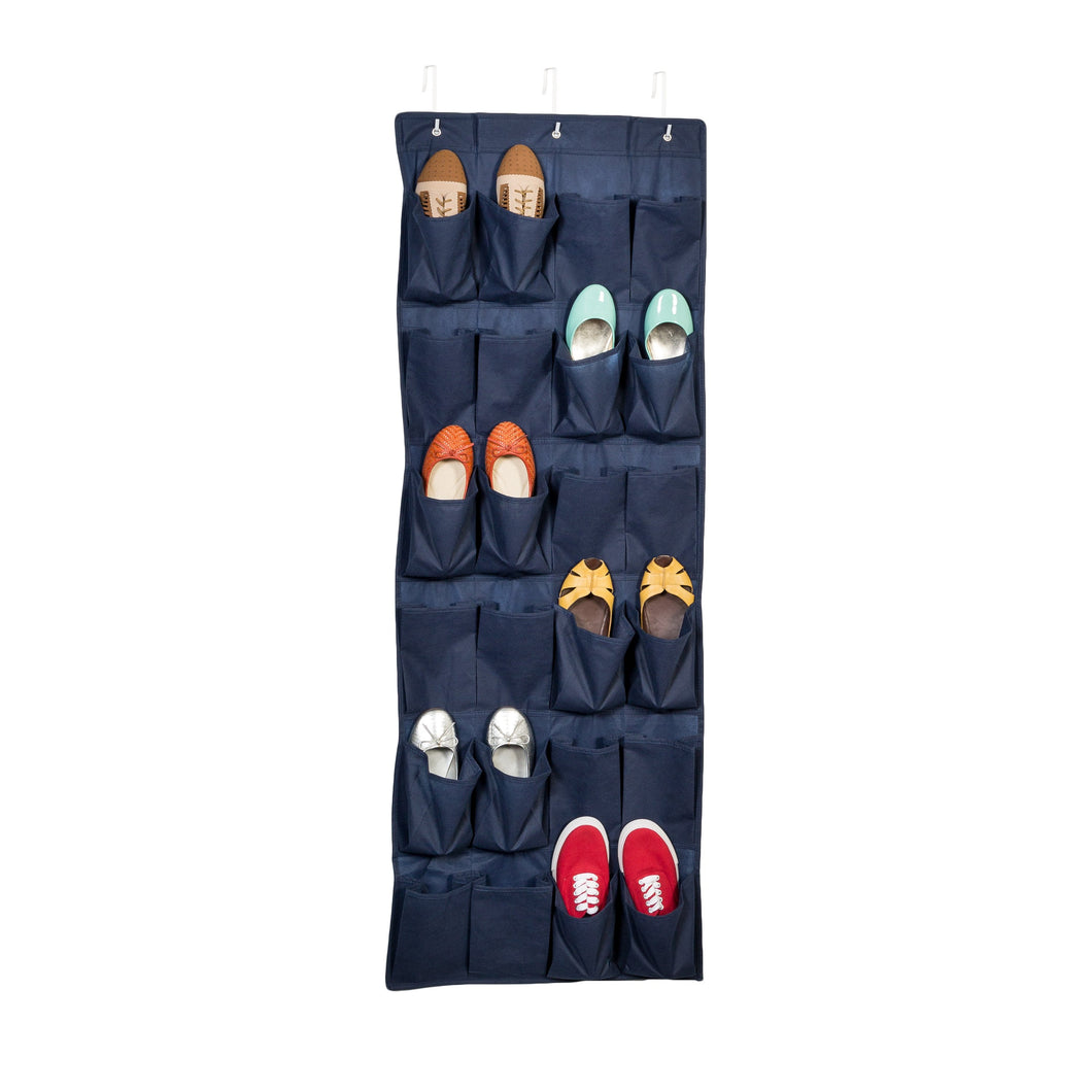 24-Pocket Over-The-Door Shoe Organizer, Navy
