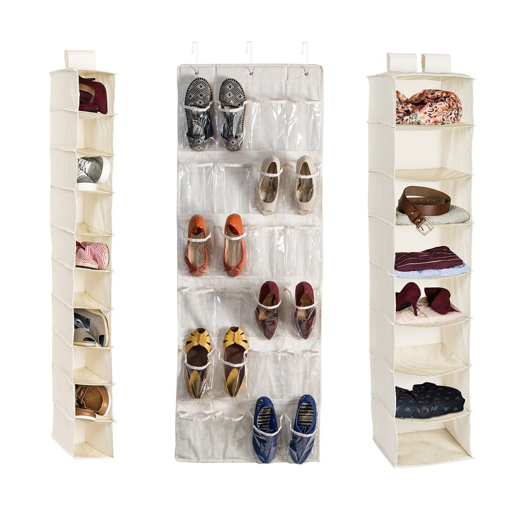 3-Piece Closet Organization Kit, Natural