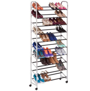 Rolling Shoe Rack, Chrome