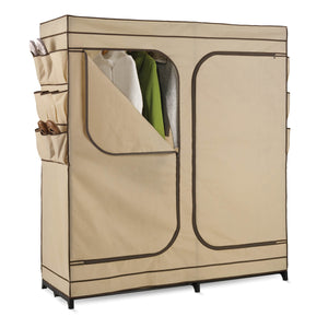 Double Door Storage Closet with Shoe Organizer, Khaki