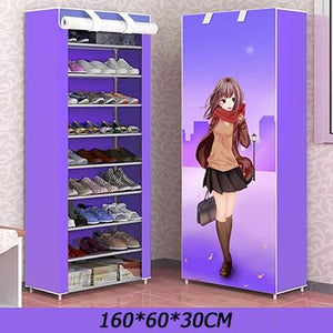 Anime Pattern Multi-layer Dustproof Cloth Shoe Cabinet DIY Home Shoe Storage Rack 3 sizes
