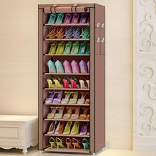 Load image into Gallery viewer, 9 Tier Modern Shoe Shelves Oxford Cloth Shoe Stool Storage Cabinet Multipurpose Shoes Rack DIY Shoes Organizer Case Space Saver