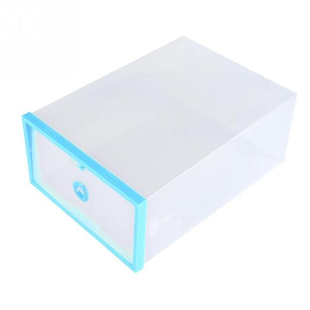 2Pcs Foldable Plastic Shoe Storage Box Case Clear Shoe Organizer Space Saver Shelf Drawer Shoe Storage Containers Holder