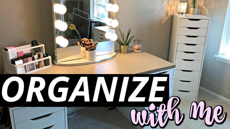 Come organize with me vlog-style as I declutter/purge & re-organize my makeup, beauty, skincare collection & vanity area with some new organizers/furniture!