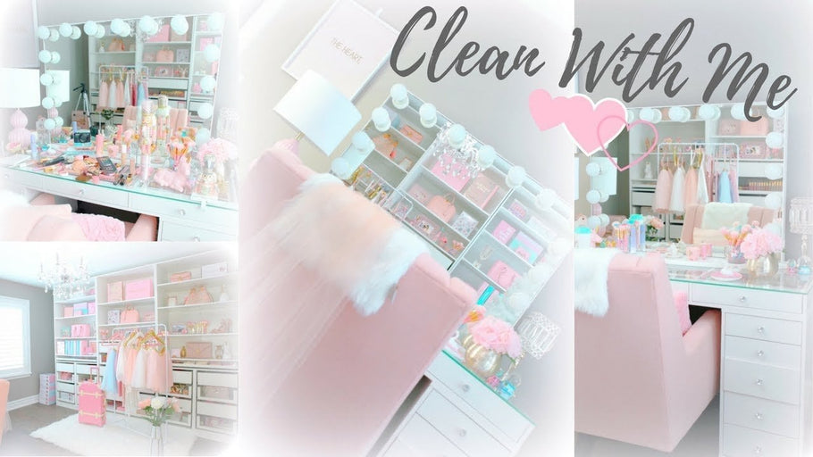 CLEAN AND ORGANIZE MY BEAUTY ROOM AND MAKEUP VANITY WITH ME, HELLO 2018!!!☕     Subscribe NOW to SLMissGlam!