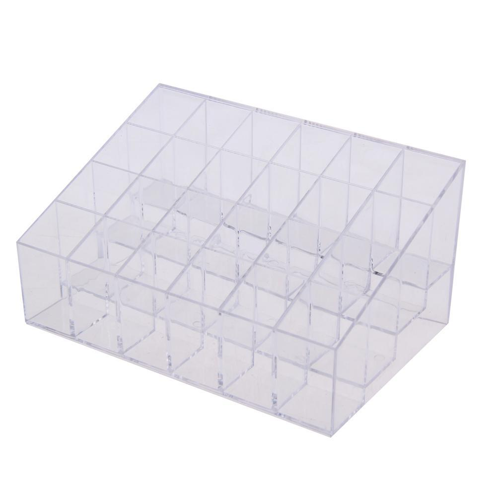 Clear Acrylic 24 Cosmetic Organizer Makeup Case Holder Display Stand Storag