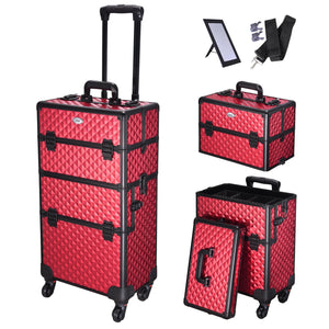 AW Rolling Aluminum Makeup Cosmetic Train Case 2in1 4Wheel Red
