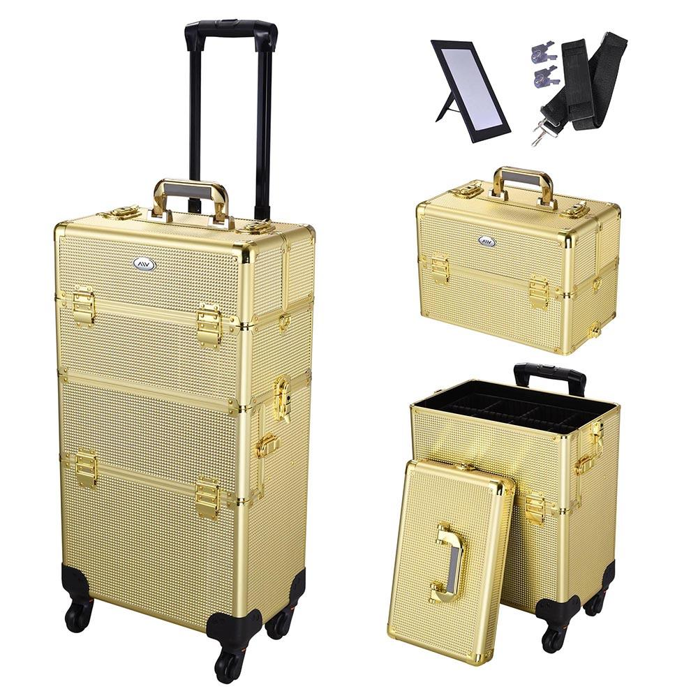 AW Rolling Aluminum Makeup Cosmetic Train Case 2in1 4Wheel Golden