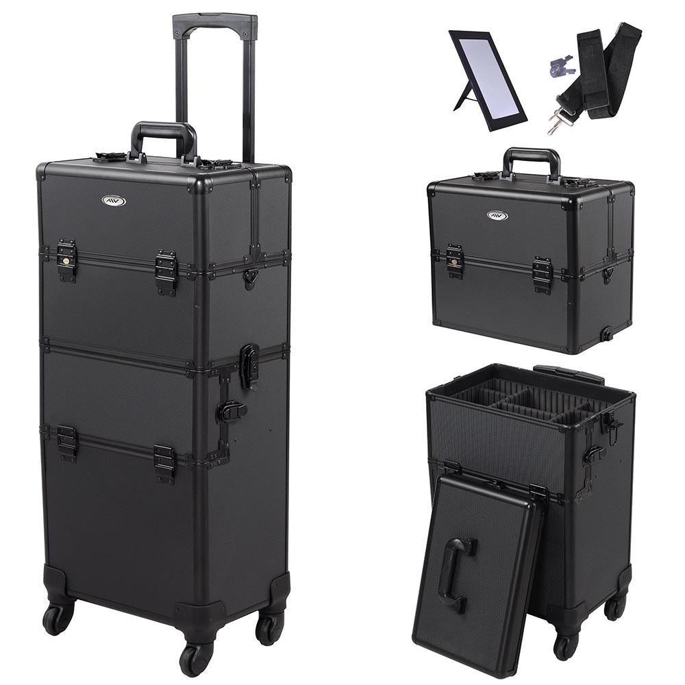 2in1 4 Wheel Pro Aluminum Rolling Makeup Cosmetic Train Case Lockable
