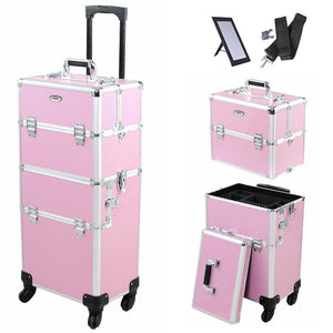 "14x9x29"" 2In1 Pink 4 Wheel Rolling Aluminum Makeup Artist Lockable"